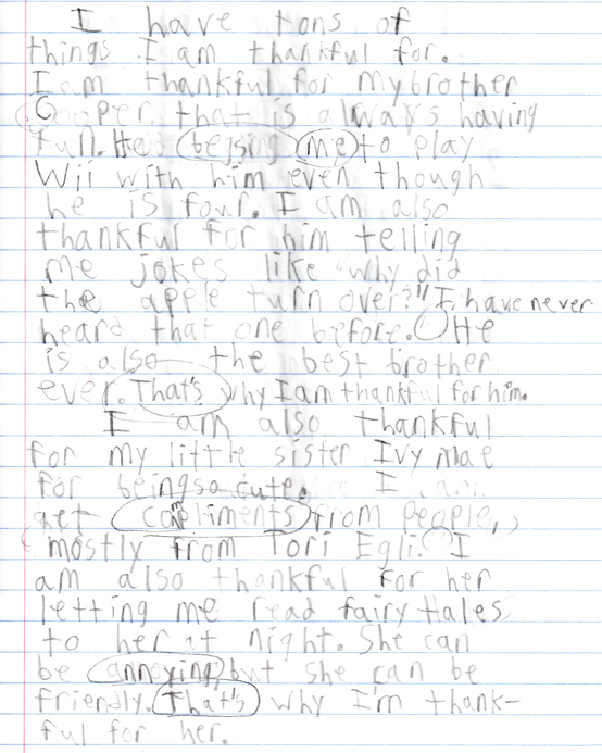 Queen Bee McAfee: Cole's Thanksgiving Journal Entry