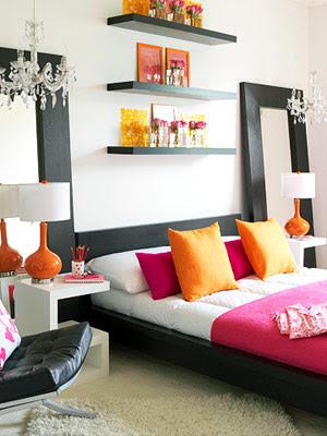 incredible hot pink orange bedroom | Home Decor: Decorating in Orange
