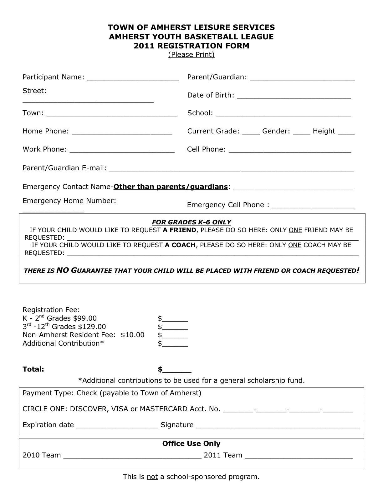 sport registration form template - application form registration form template html free