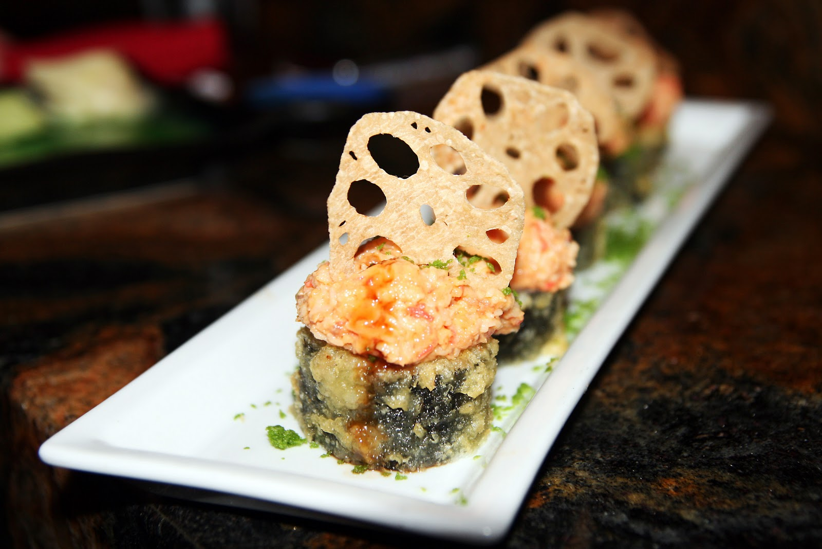 ra sushi s happy hour dallas tx a taste of koko austin s viva las vegas roll kani kama crab and cream cheese rolled in rice and seaweed lightly tempura battered and topped spicy tuna kani kama crab mix and