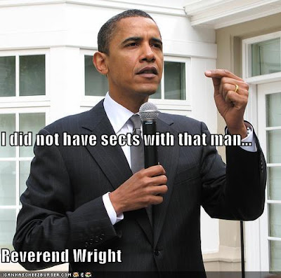Obama says he did not have sects with Wright
