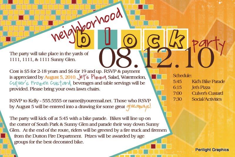 Block Party Invitations Perilight Graphics