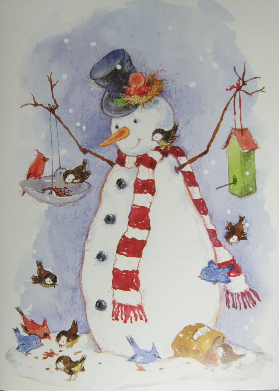 Hand Painted Snowman Card