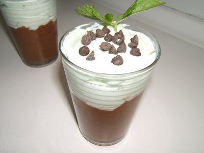 Verrine mousse de chocolate y mousse de menta / Verrine mousse de chocolat et mousse à la menthe
