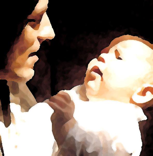 pai e filho sob a luz de rembrandt