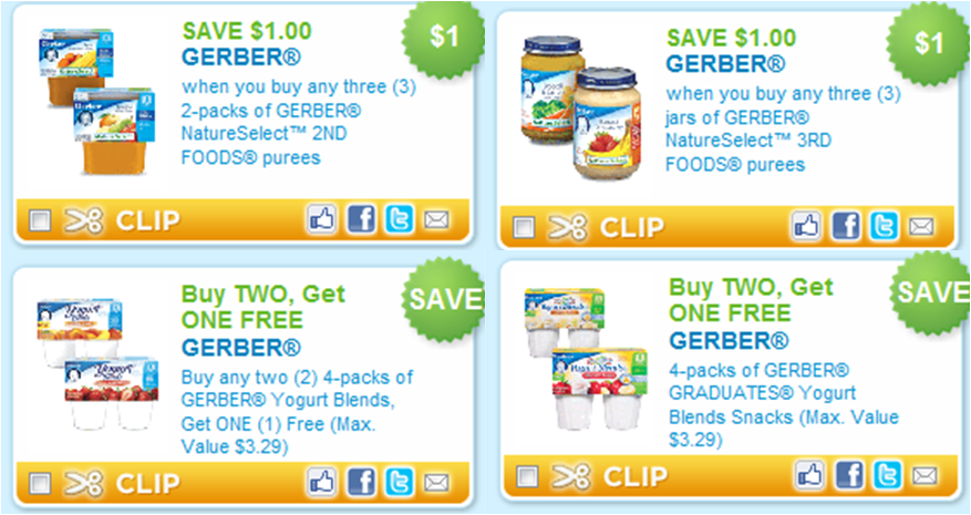 Even better through June 2nd, Walgreens is offering 2, Bonus Rewards Points ($2 reward) when you spend $10+ on Gerber Baby Products. In addition, Gerber snacks are buy one, get one 50% off AND we have some printable coupons available making for some great deals!