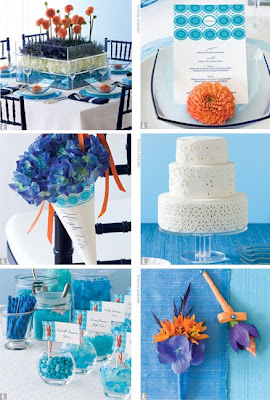 Table Setting Blue Gl Chargers White Plates And Bowls Centerpiece Made Of Stacked Acrylic Bo Filled With Eryhgium Thistles Orange