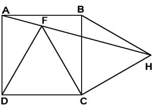Un cuadrado y dos triángulos equiláteros