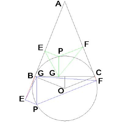 Triángulo con las distancias a P