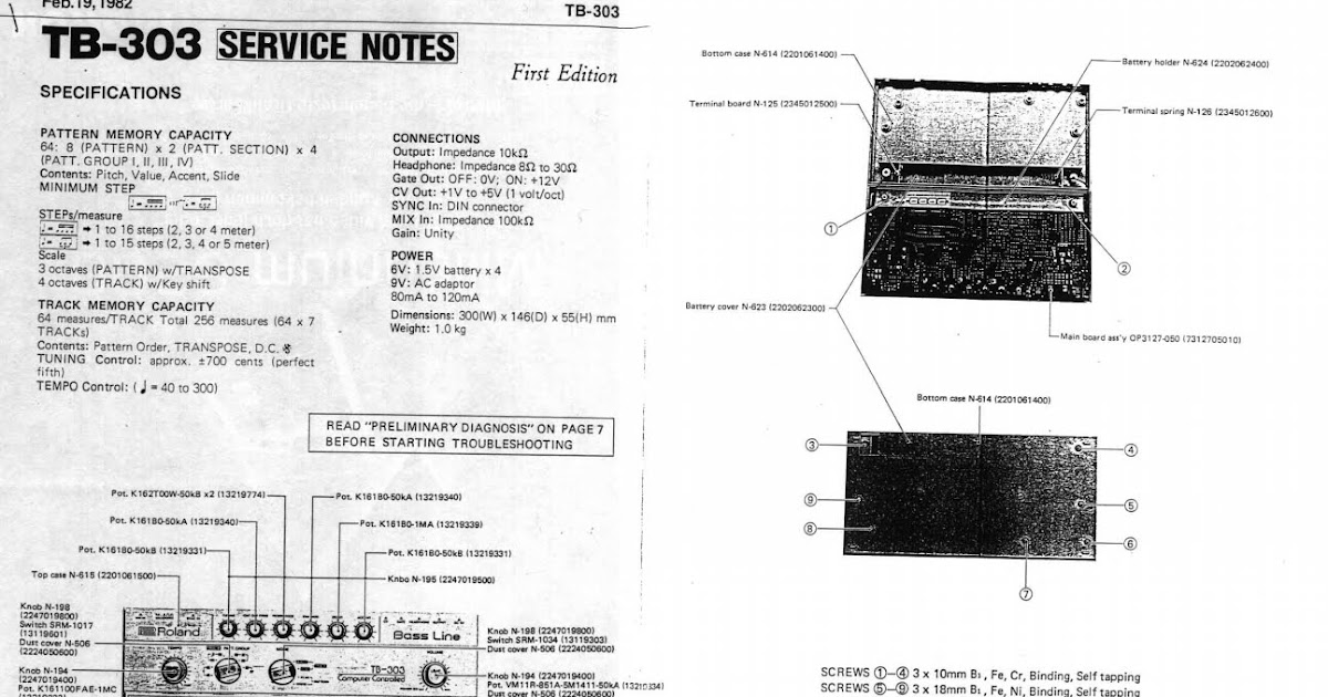 Din Sync: Roland TB-303 Service Manual
