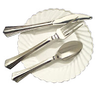 plastic cutlery that looks like silverware flatware