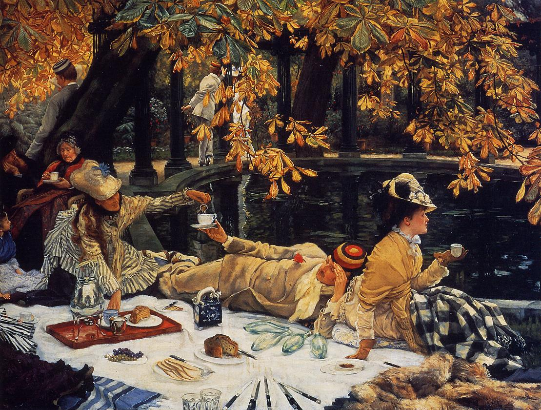 Yellowing Leaves Of The Chestnut Tree Shade A Group Well Dressed Men And Women Who Are Enjoying Picnic Beside Pond Canvas Painted In