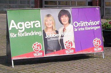 Malmö: Campaign sign with Mona Sahlin