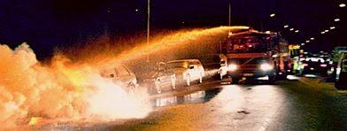 Bilbrand på Ramels väg i Rosengård