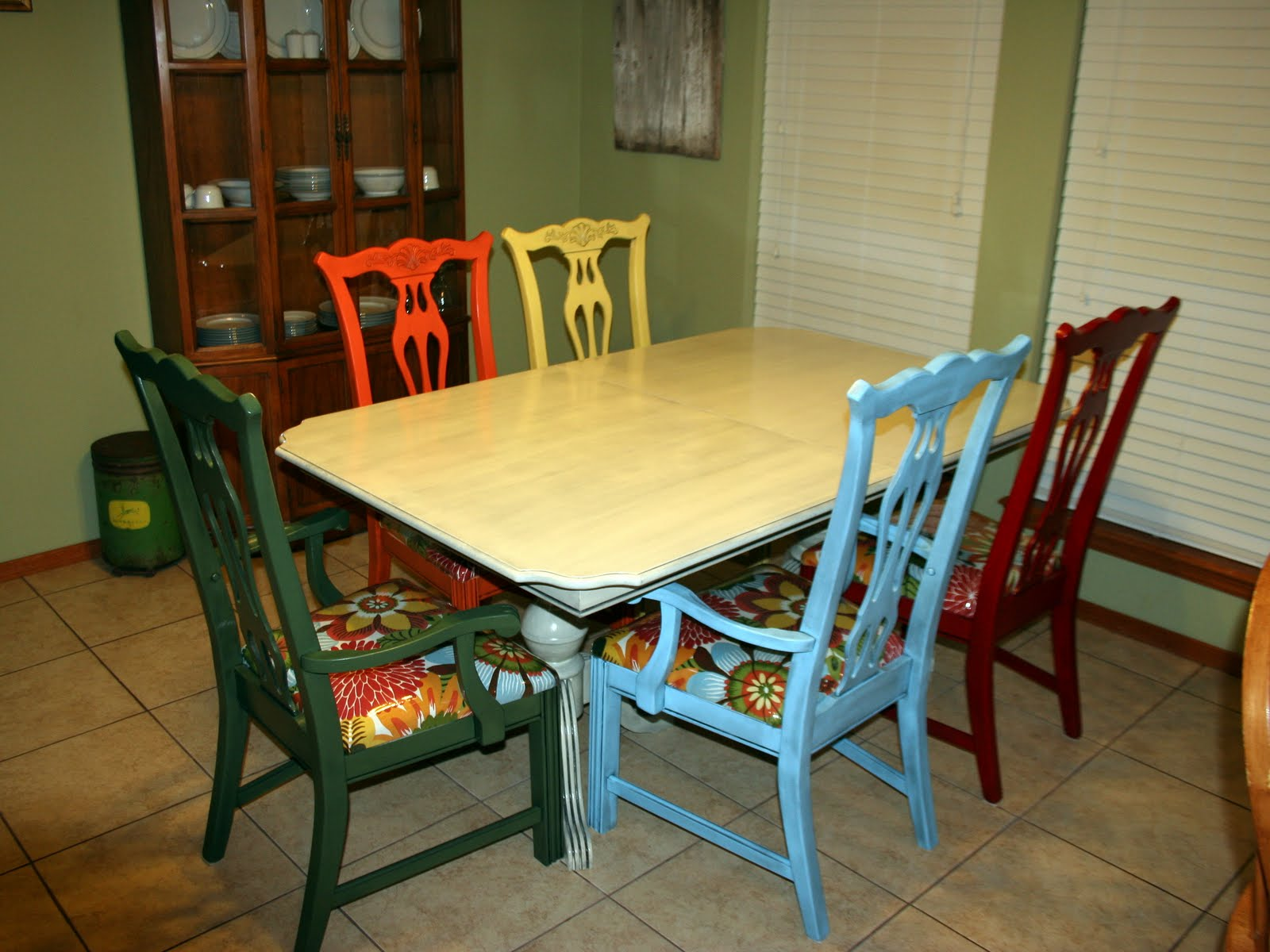 Mismatched Dining Chairs Stencil Wall By Alison And A Dining Room Table Redo By Jen