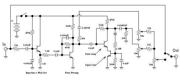 maestro fuzz guitar effect schematic diagram