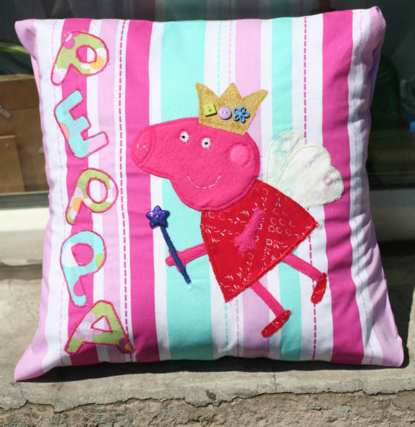 The Butterfly Balcony - Homemade Peppa Pig Appliqué cushion