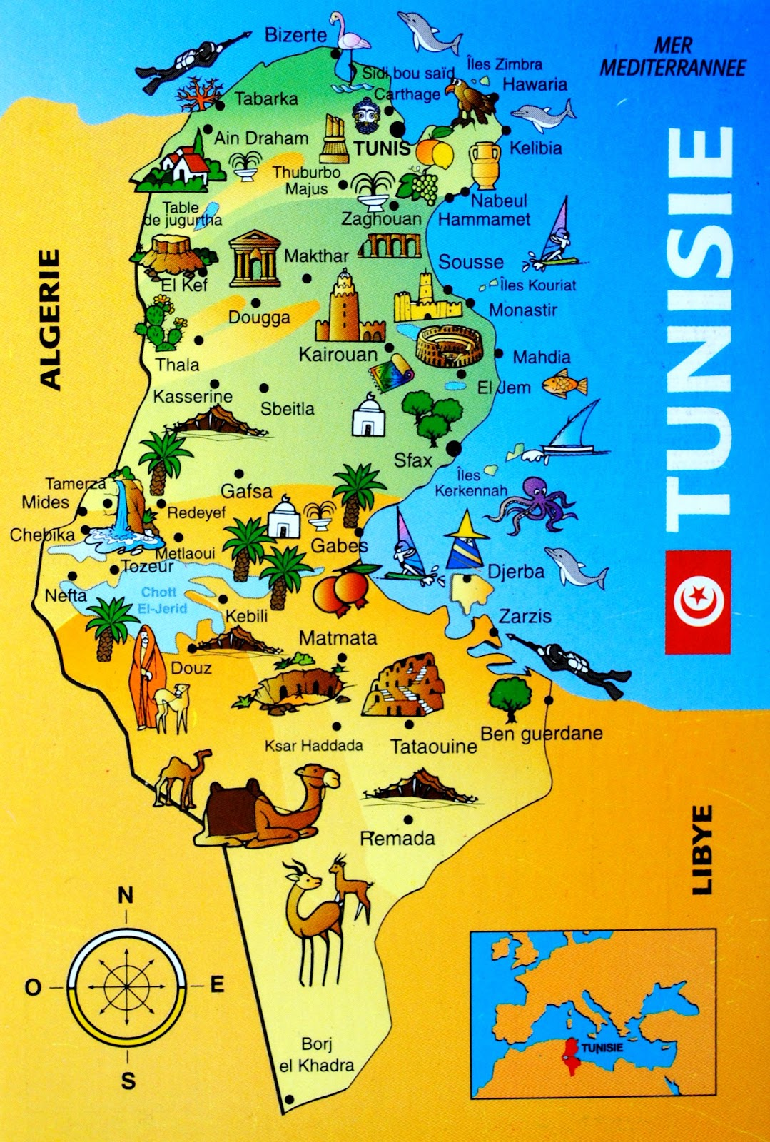 Mapa Tunezji