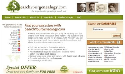 SearchYourGenealogy.com Home Page
