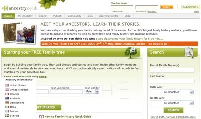 Ancestry.co.uk Home Page