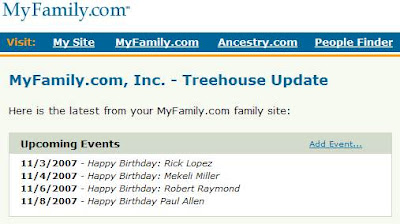 E-mail announcing Allen's birthday