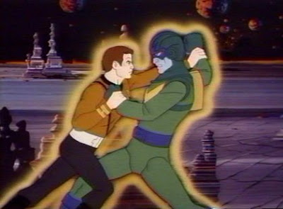Captain Kirk tussles with an Orion pirate.