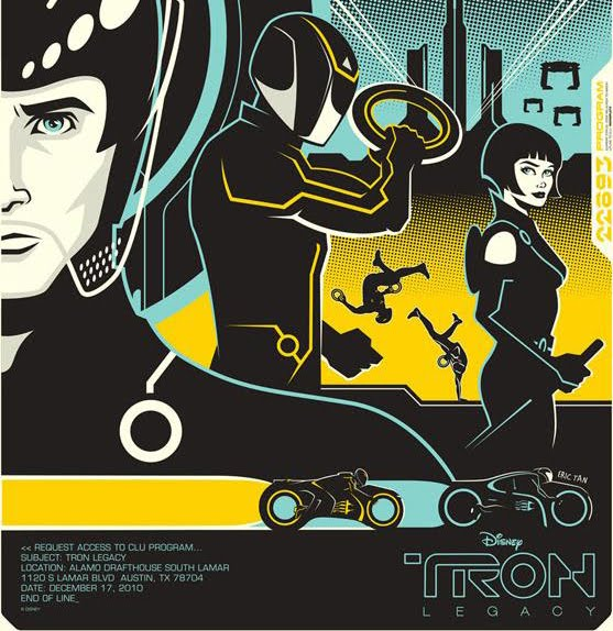 The poster for Alamo Drafthouse's Tron: Legacy screening, by Eric Tan