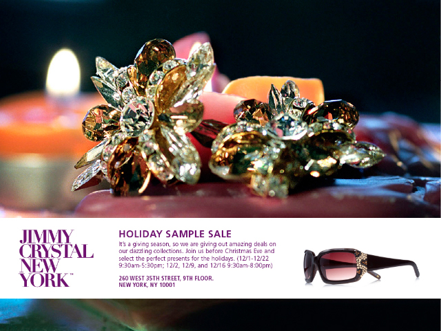 f35ecda3de4c Jimmy Crystal NY Holiday Sample Sale!