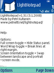 LightNotepad for Nokia Series 60 3rd edition