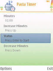 Pasta Timer for Nokia S60 3rd edition