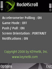 RockNScroll for Nokia phones with accelerometers