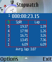 Stopwatch - Free Java (J2ME) MIDlets for mobiles