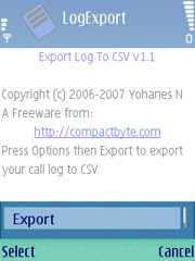 LogExport - Export the Call Register data to a CSV file.