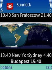 Sunclock is a J2ME Midlet that displays a map of the Earth
