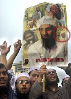 The image of Bert ended up with other images as part of this pro Bin Laden collage