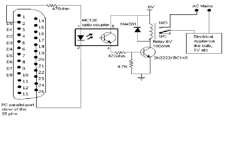 projects and circuits  control electrical appliances using pc