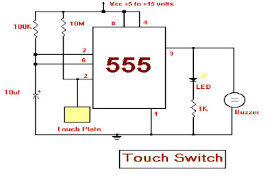 projects and circuits: 555 timer as the bases of the touch ... holmes 1 touch heater wiring diagram touch plate wiring diagram 6 pl