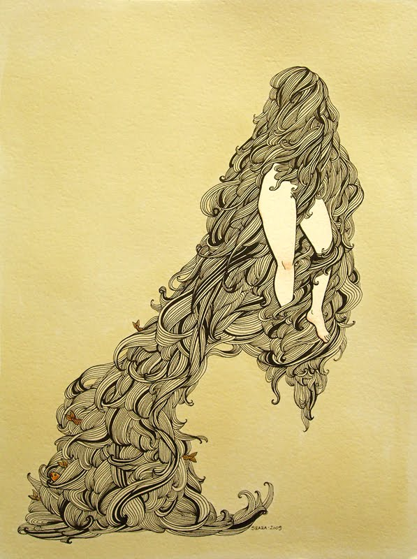 Ink, gouache and tea painting of a woman hiding behind her hair, by Samantha Zaza