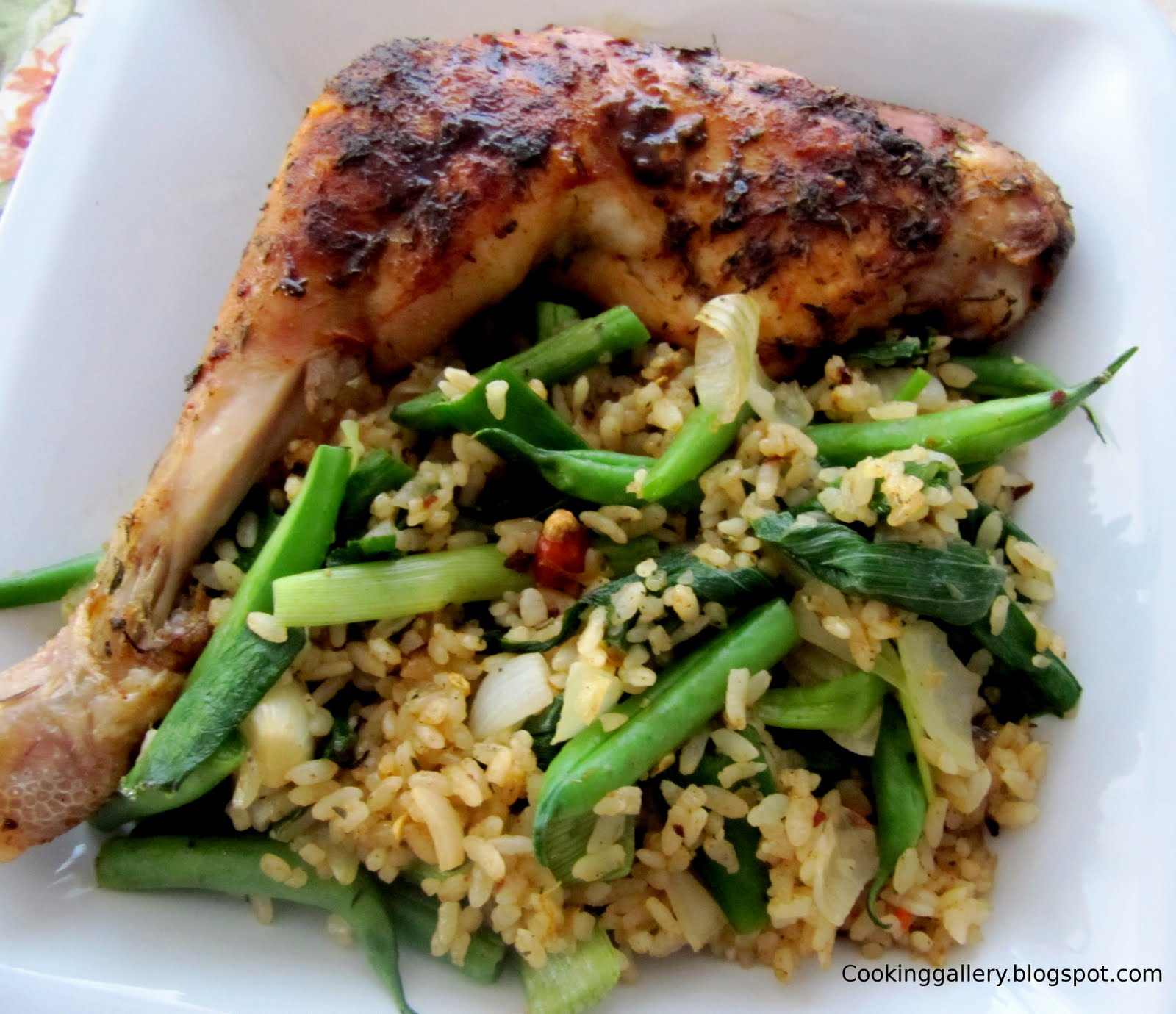 Baked Chicken With Thyme And Green Bean Rice