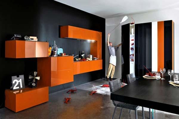 Uzumaki Interior Design: Kitchen With Orange Design Schemes