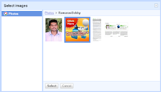 select images from picasa web albums to add to your Orkut photos