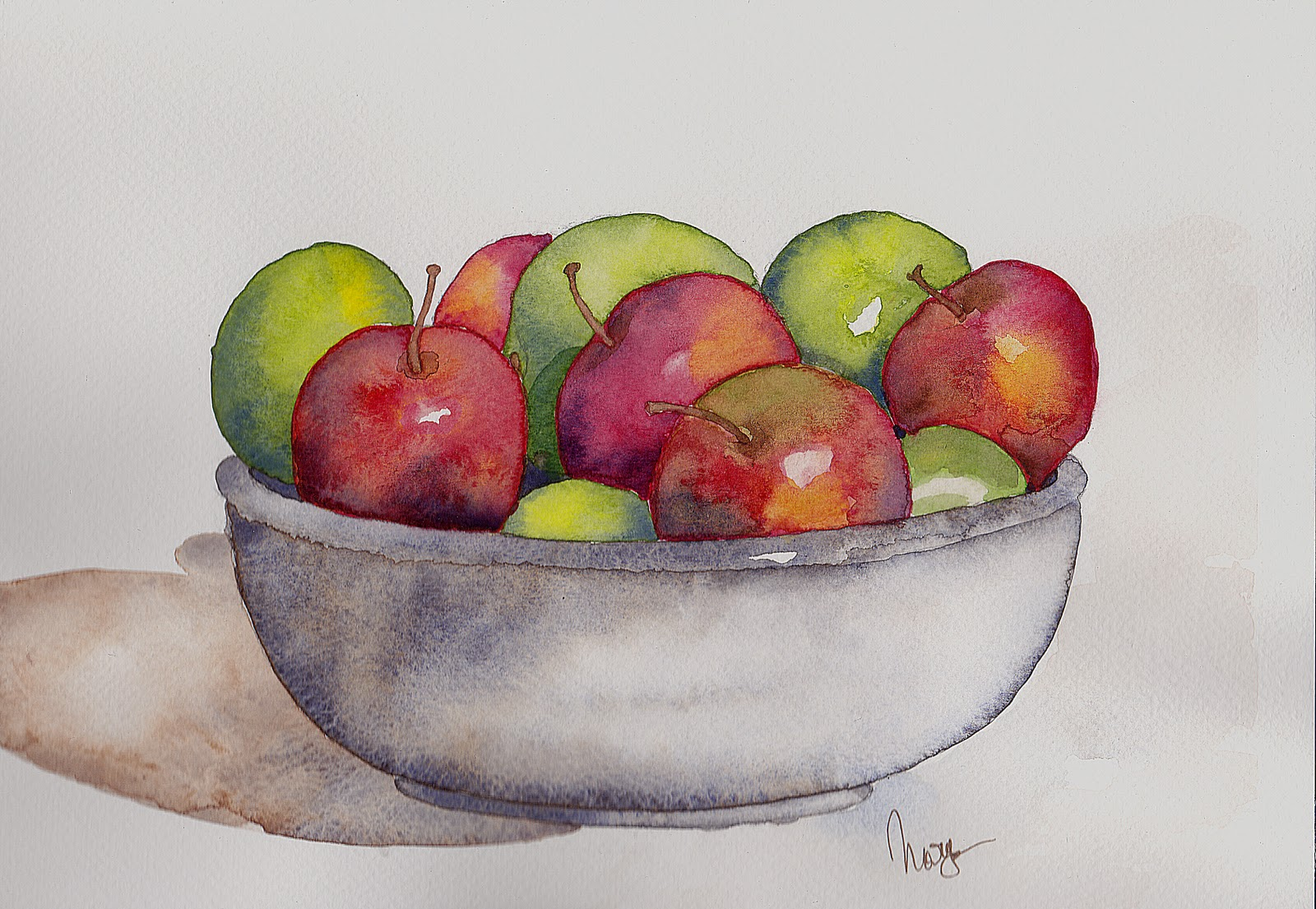 watercoloreveryday: fruit bowl