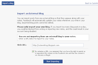 Importing Blog Feed to Facebook Notes