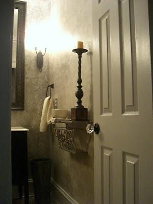 Silver leaf powder room - via the negative split