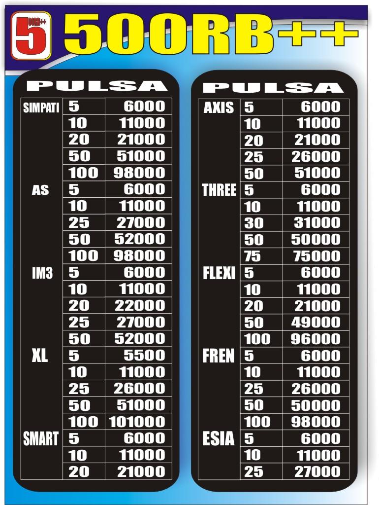 500rb Daftar Harga Pulsa 500rb