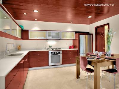 Cocina con muebles contemporáneos de madera con terminación de color y textura fina