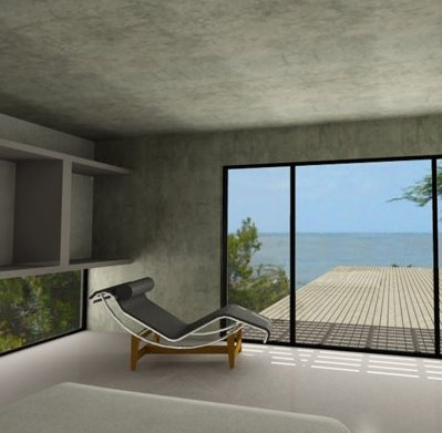 Casa de playa minimalista de hormigón armado