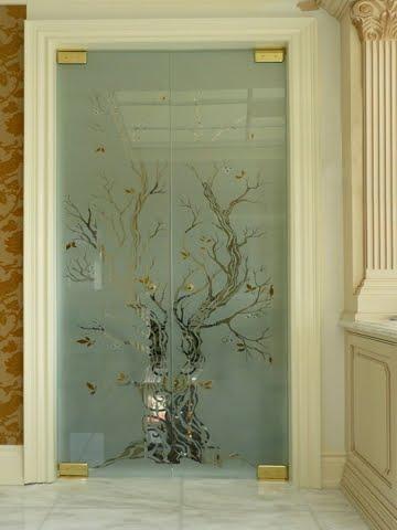 Puerta de vidrio decorado sin marco