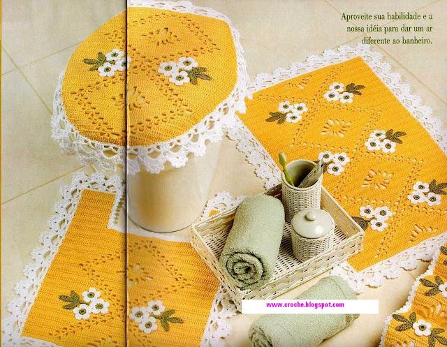 Juegos De Baño Con Girasoles:Juegos De Bano En Crochet