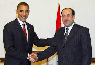 Obama and Maliki shake hands